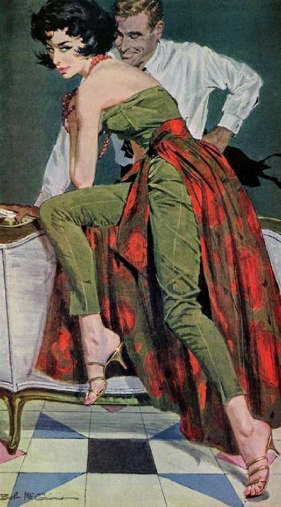 """Robert McGinnis illustration for Jack Finney's """"The Other Wife"""" from The Saturday Evening Post, January 30, 1960."""