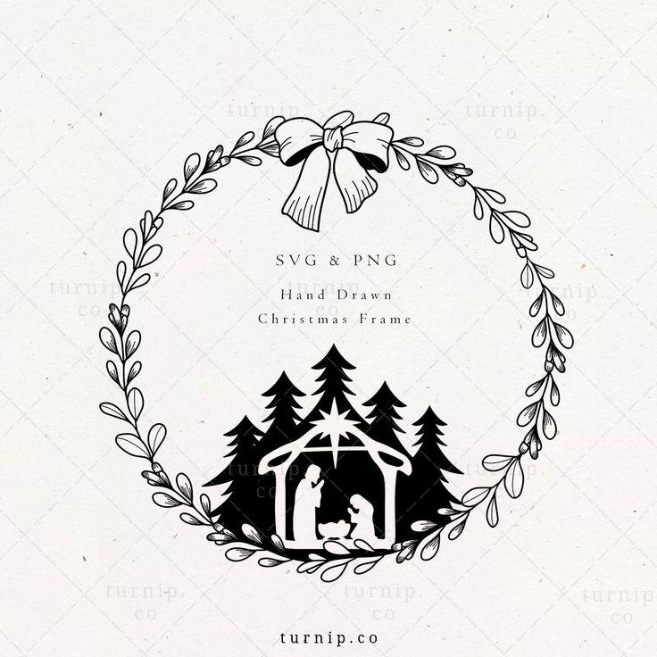 Nativity Scene Svg Png Wreath Christian Christmas Etsy In 2021 Christian Christmas Hand Drawn Christmas Cards Floral Wreaths Illustration