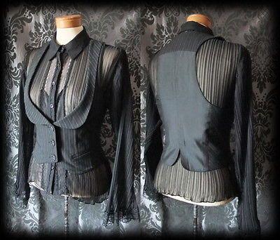 Goth-Black-Pinstripe-Fitted-DESOLATION-Corset-Waistcoat-10-12-Steampunk-Vintage