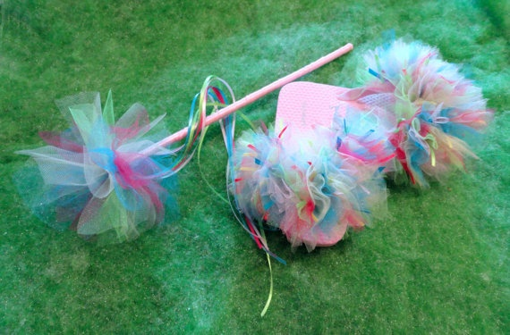 Flip flops, magic wands and hairbows can all be made to match your little girls tutu. Pink Blue Green Ribbon and Tulle Flip Flops by LivelyLadyGifts, $12.00