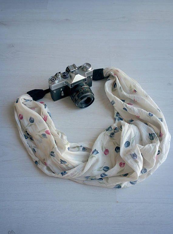 Scarf camera strap Fabric camera strap Camera scarf strap Floral scarf strap DSRL camera strap Photographer accessories Camera accessories