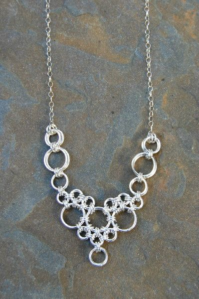 Chain Maille Jewelry - La Diademe necklace by Mermaids Dream Jewelry. Sterling silver. $120