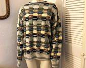 Vintage 1980s Mens SEGRETO Crew Neck Pullover Sweater / Made in Italy / Woven Checker Crosshatch Knit / Green Grey Blue Yellow Tan Black / Linea Italiana / Fishermans Knit / Woven Knit Pattern / Textured Knit / Long sleeve Sweatshirt / Mens Winter Clothing / Mens Sweater / Italian Mens
