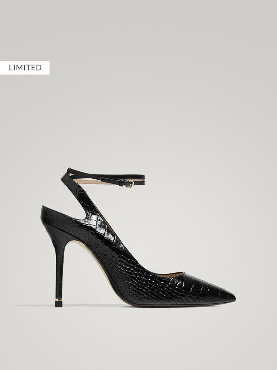 48069beffa96 Spring Summer 2018 Women´s BLACK MOCK CROC LEATHER SLINGBACK HIGH HEEL  COURT SHOES at Massimo Dutti for 130. Effortless eleg… | The Imelda Marcos  In Me in ...