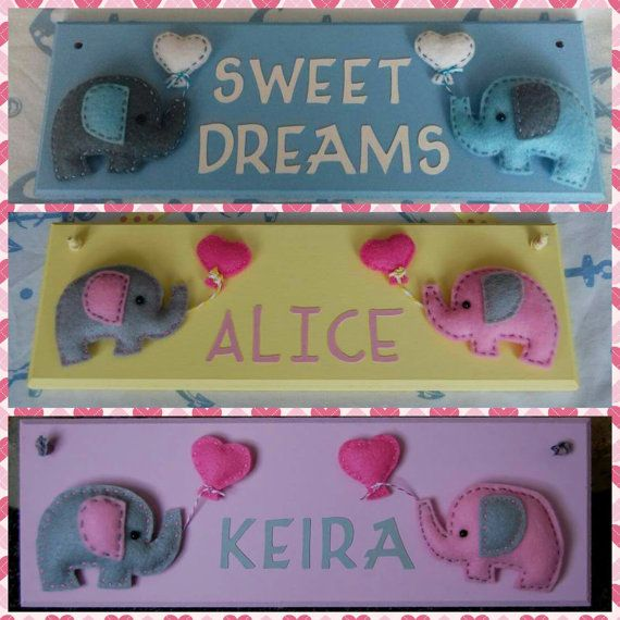 Personalised felt Elephant Name plaque / sign. by FairylandDecor