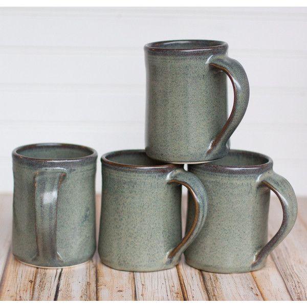 Set of 4 Ceramic Handmade Mugs Gray hand thrown coffee tea mug Gray... ($66) ❤ liked on Polyvore featuring home, kitchen & dining, drinkware, grey coffee mugs, handcrafted mugs, handmade mugs, stoneware mugs and coffee tea mugs
