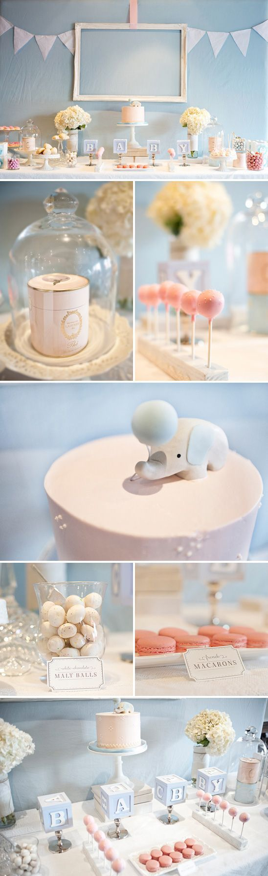 Elegant pink and blue baby shower--love the baby blocks inspired by my shower!