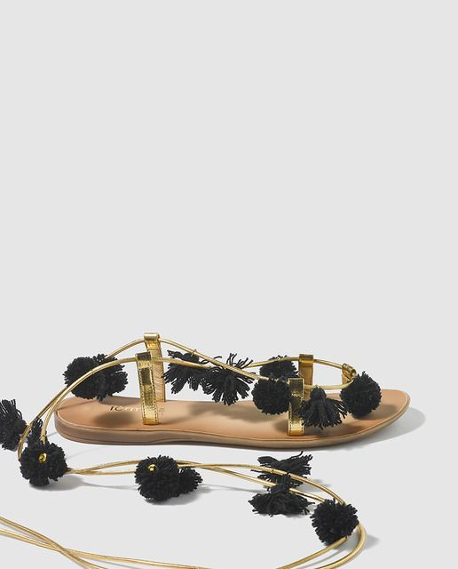 Sandalias planas de mujer Fórmula Joven doradas con pompones