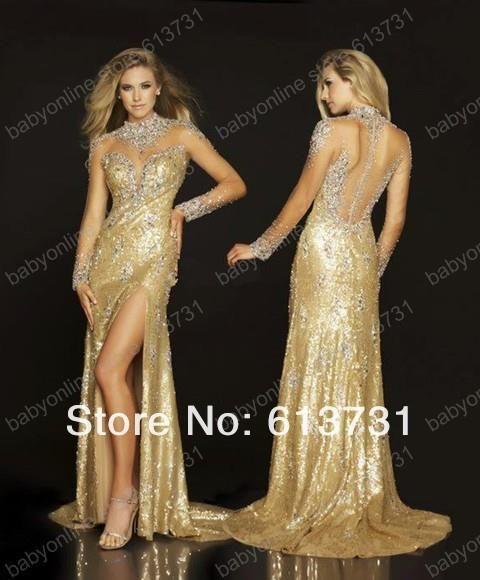 Золотое платье со стразами