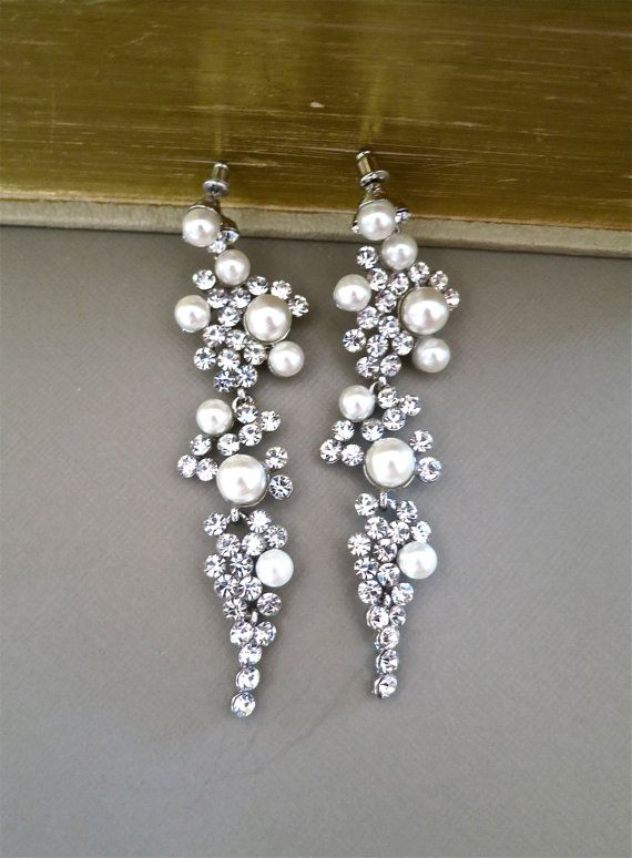 Bridal Chandelier Earrings Rhinestone Ivory by SukranKirtisJewelry, $78.00