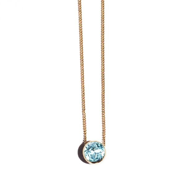 14KY Gold Leila Pendant With Faceted Round Sky Blu by Dana #winboticca elegant and stylish