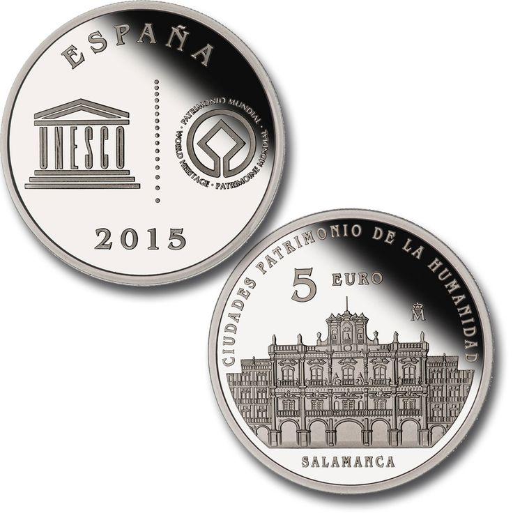 4 reales - Salamanca. En el anverso (común para las cinco piezas) se reproduce el logotipo de la UNESCO acompañado, a la derecha, por el emblema oficial de la Convención del Patrimonio Mundial.