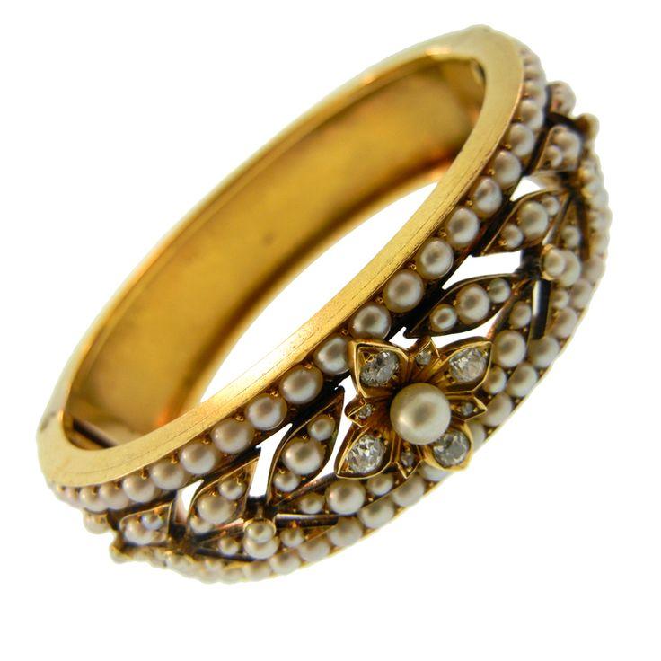 Diamond, pearl and gold bracelet, circa 19th century.