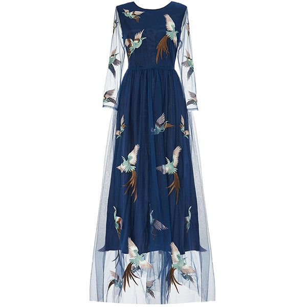 Navy Flying Birds Embroidery Maxi Dress (906.645 IDR) ❤ liked on Polyvore featuring dresses, embroidered maxi dress, blue embroidered dress, broderie dress, embroidery maxi dress and maxi length dresses