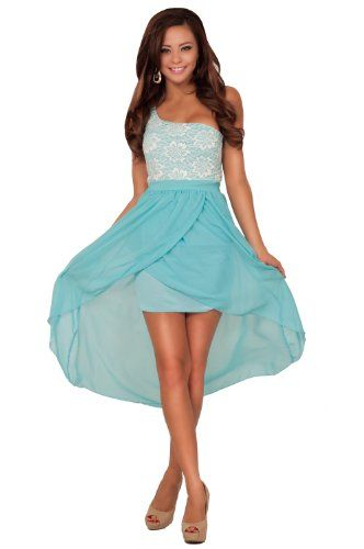 One Shoulder Greek Goddess Inspired Lace High Low Bridesmaid Party Formal Dress $38.99 #HotfromHollywood #Dresses #Skirts