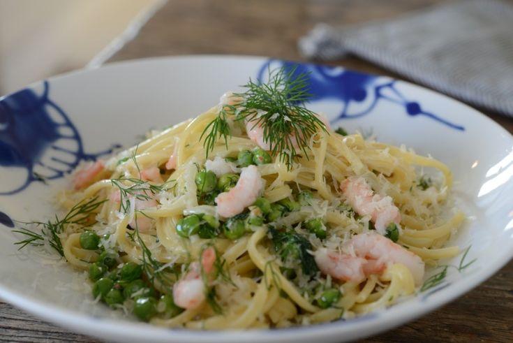 Denne vil jeg prøve - pasta med erter, dill og reker