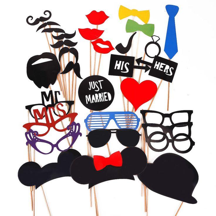 31 X Party Foto Verkleidung Schnurrbart Lippen Brille Photo Booth Props Zubehör