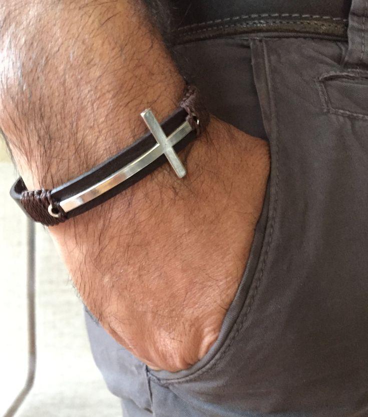 Cross Men Bracelet, Silver Cross Bracelet, Silver Crucifix , Brown Leather men Bracelet for Men Gift Bracelet for men, Black Friday by MariaCruz on Etsy