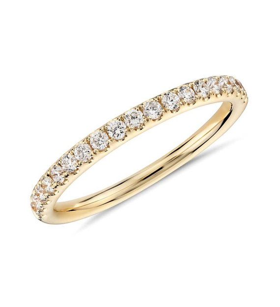 18 K Diamond Pave Eternity Band 1.6mm Half Eternity by SARRIEL