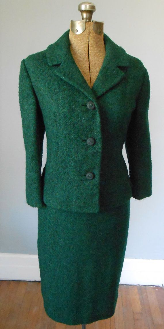 50s Emerald Green Wool Boucle Skirt Suit Vintage Womens
