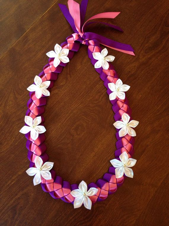 Purple pink and white ribbon lei by LovelyLeisNSei…