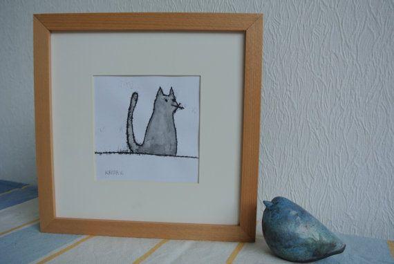 Monotype 'Kat'- een grijze kat, unieke afdruk, inclusief passe-partout en lijst