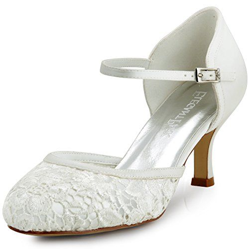 Elegantpark HC1511 Ivory Womens Round Toe Mid Heel Buckle Lace Wedding Bridal Shoes US5