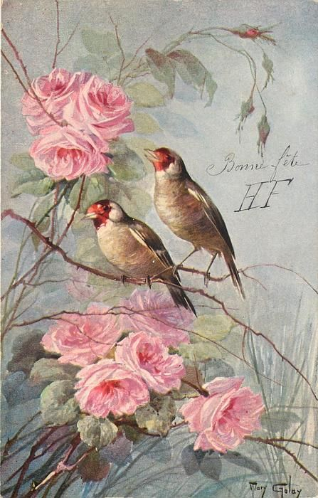 two birds face slight left, pink flowers - artist: mary golay