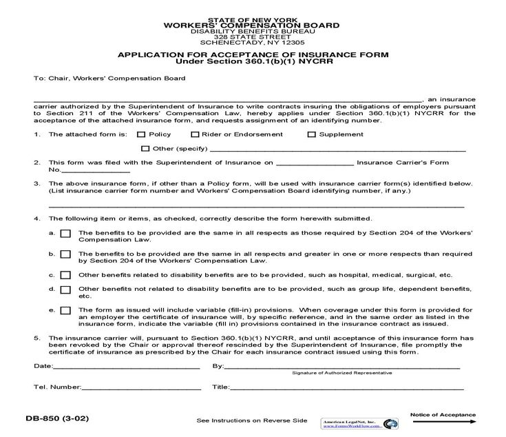 Application for acceptance of insurance form acceptance