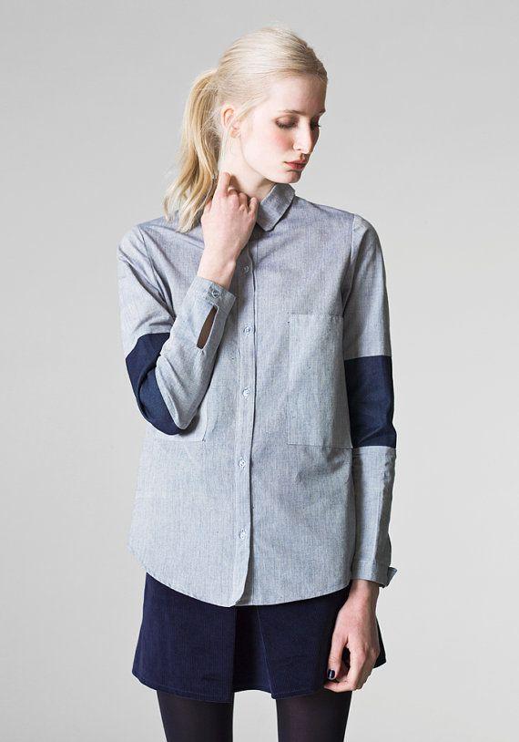 leichte Jeanshemd / Boyfriend style Shirt / Damen oversized Shirt / Chambray Denim-Bluse / überdimensioniert Jeanshemd