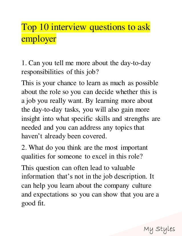 Top 10 Interview Questions To Ask Employer Career Job Interview Answers Job Interview Interview Questions To Ask