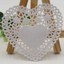 """Creativo del arte 4 """" pulgadas en forma de corazón libro blanco de encaje Doilies fiesta mantel pastel de bodas regalo de la decoración 100 unids/pack(China (Mainland))"""