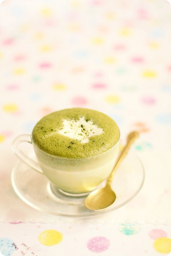 Matcha Latte (serves 1)  1/2 c milk  matcha powder & sugar, to taste  **Wisk all together in a saucepan, bringing to near-boil.  Place in a french coffee press & push plunge down a few times to foam the latte.  You can also make some plain foamed milk for the top, if desired.  Easy!!