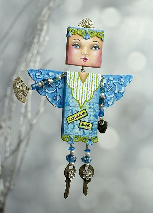 Mixed Media Christmas Angel -- Add this mixed media angel to holiday décor.  #decoartprojects