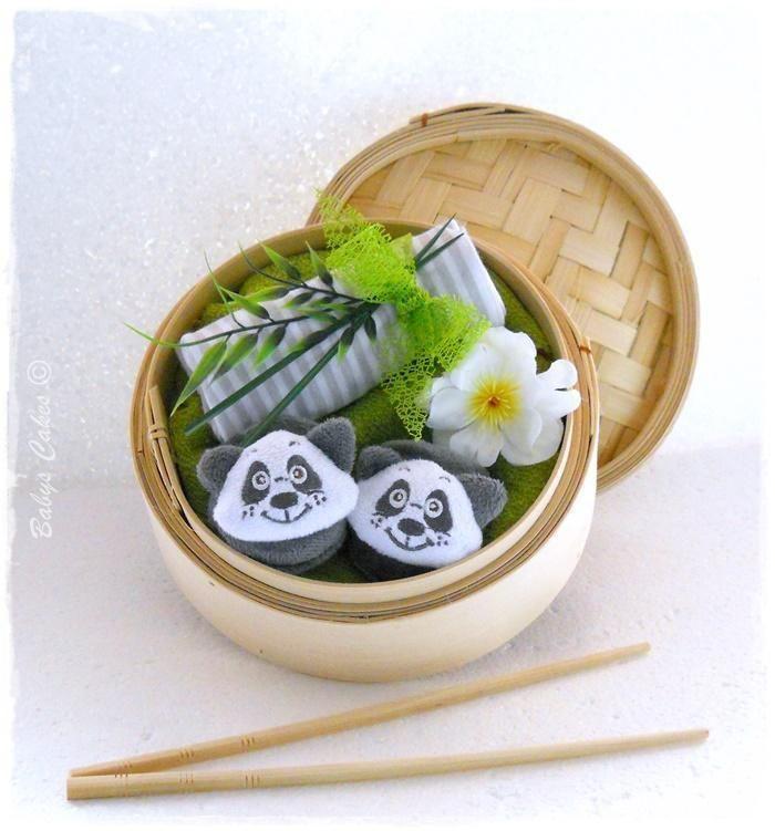 Cadeau naissance Panda sushis garcon - Babys Cakes boutique
