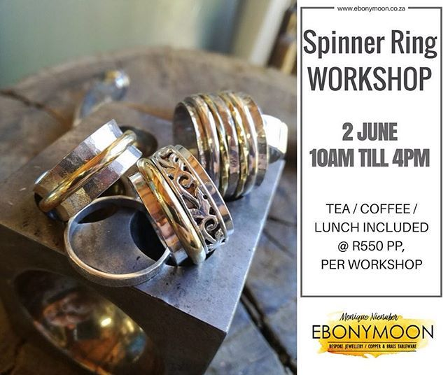 Come enjoy the day learning basic skills of jewellery making including piercing filing texturing annealing forming and polishing. You will create a wonderful piece of jewellery that you can take home and enjoy. Monique will work with you as a group and as individuals to support and guide you through your learning  R550 per person including tea coffee and lunch #workshop #jewelry #spinner #ring