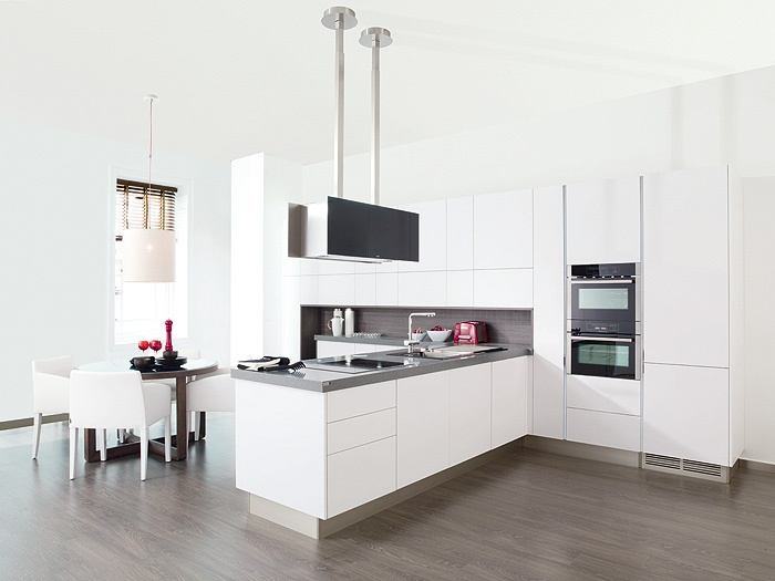 Clean lines white wood metal glass integrated appliances for Kitchen cabinet lines