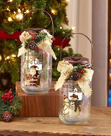 Decorate your country-style home for the holidays with this Holiday LED Mason Jar. Each glass jar is decorated with artwork featuring a pair of seasonal charact