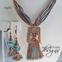Artisan crafted copper pendant on hand-dyed silk necklace with earrings: Artisan Crafts, Crafts Copper, Artisan Necklaces, Hands Di Silk, Mixed Media, Copper Pendants, Silk Necklaces
