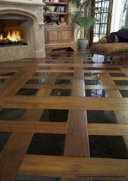 Tile n hard wood floor come together.