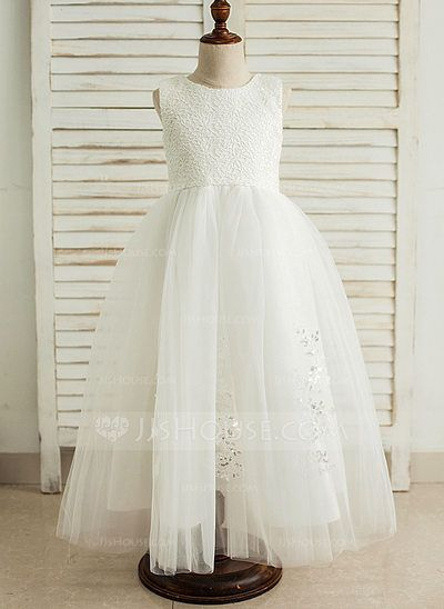 [US$ 51.99] A-Line/Princess Floor-length Flower Girl Dress - Satin/Tulle Sleeveless Scoop Neck With Sequins