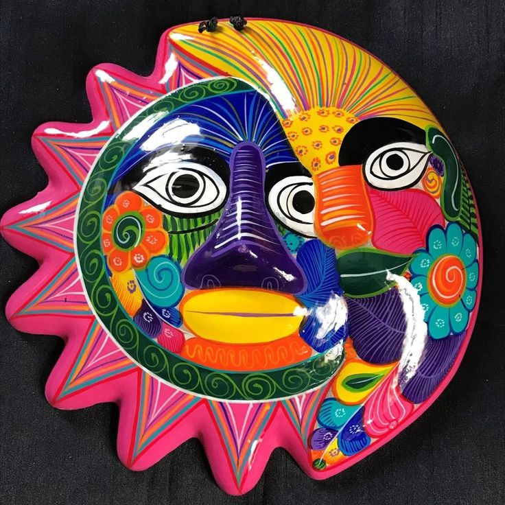 Details About Mexican Folk Art Terra Cotta Pottery Sun And