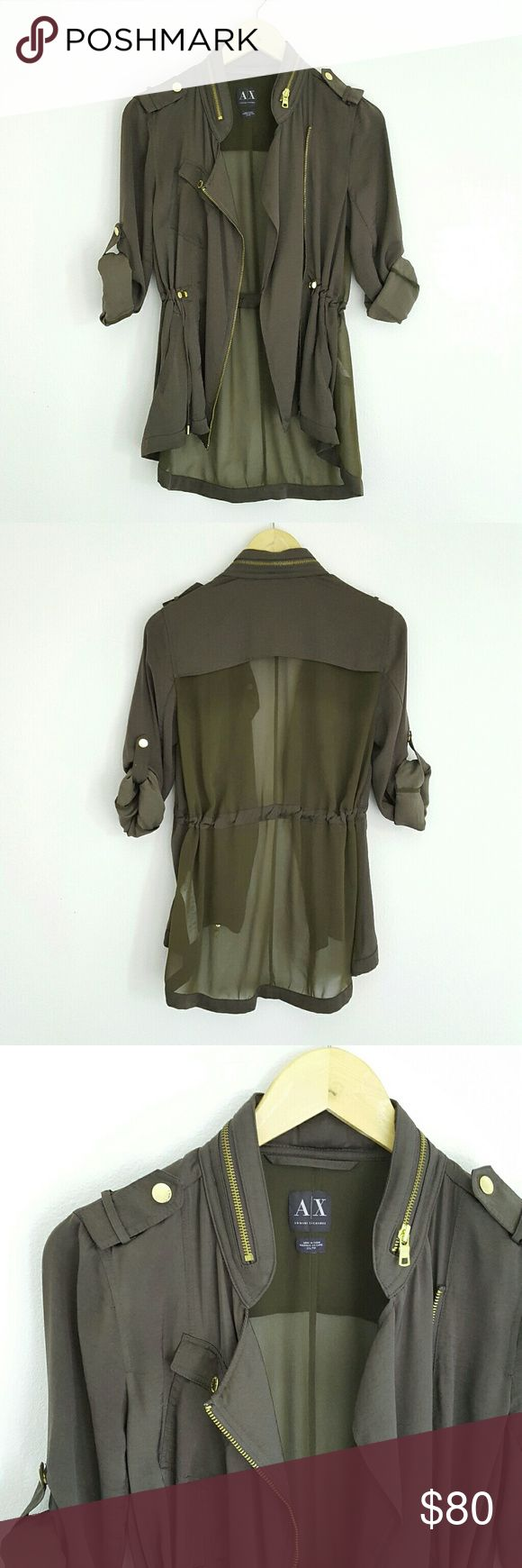 Armani Exchange lightweight jacket **PRE-OWNED item from my own closet!! ??   Very lightweight jacket with a very soft satin fabric that has a silky sheen to it.  The back has a contrast chiffon fabric. Mandarin style collar with metal zipper detail. Optional roll up cuffs with snap button.  Drawstring waist tie pull for loose or tight fit.   Color: dark military green   Sizing is a X-Small but it has a loose fit style so can fit a SMALL for a slightly more fitted look. Armani Exchange…