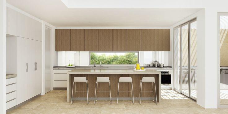This modern kitchen design is a rich combination of veneer & polyurethane doors, Caesarstone Shitake and stainless steel benchtops. #DanKitchensAus