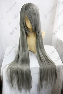 Long smoke gray straight wig with layers.