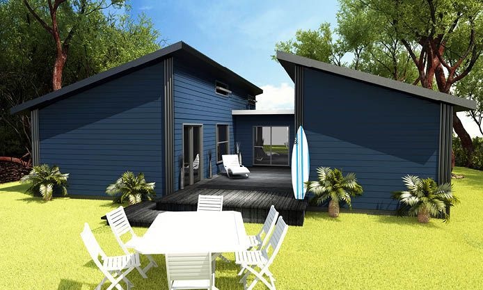 Sea Breeze: A modern style gable house, with separated living and sleeping quarters, and centralised courtyard/deck. Perfect for a holiday home.