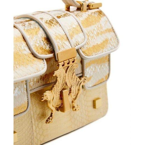 Giancarlo Petriglia Min P Golden Bag | Cardinalno.com (6.120 BRL) ❤ liked on Polyvore featuring bags, handbags, real leather handbags, miniature purse, beige purse, golden purse and golden handbags