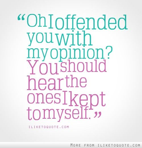 Oh I offended you with my opinion