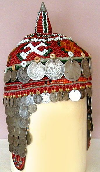 Chuvash headdress coins and beads