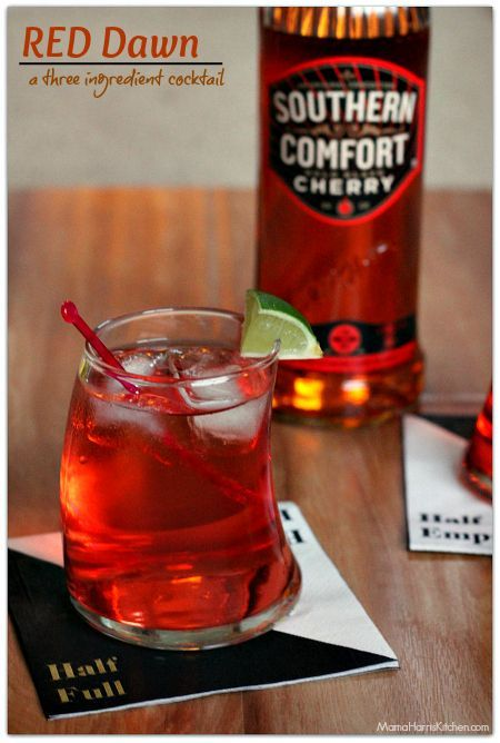 Red Dawn - A Three Ingredient Cocktail with Southern Comfort, lemon-lime soda and cranberry juice! | Mama Harris' Kitchen